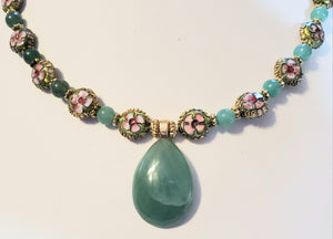 Green Aventurine Cloisonne Necklace