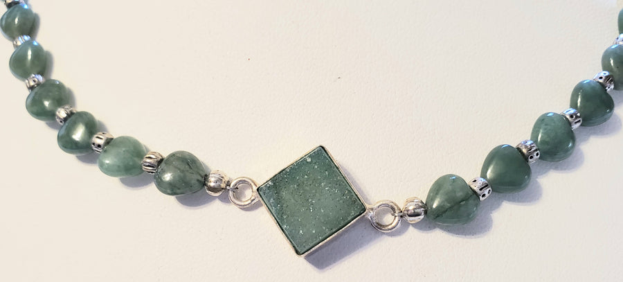 Green Aventurine Heart Druzy Necklace