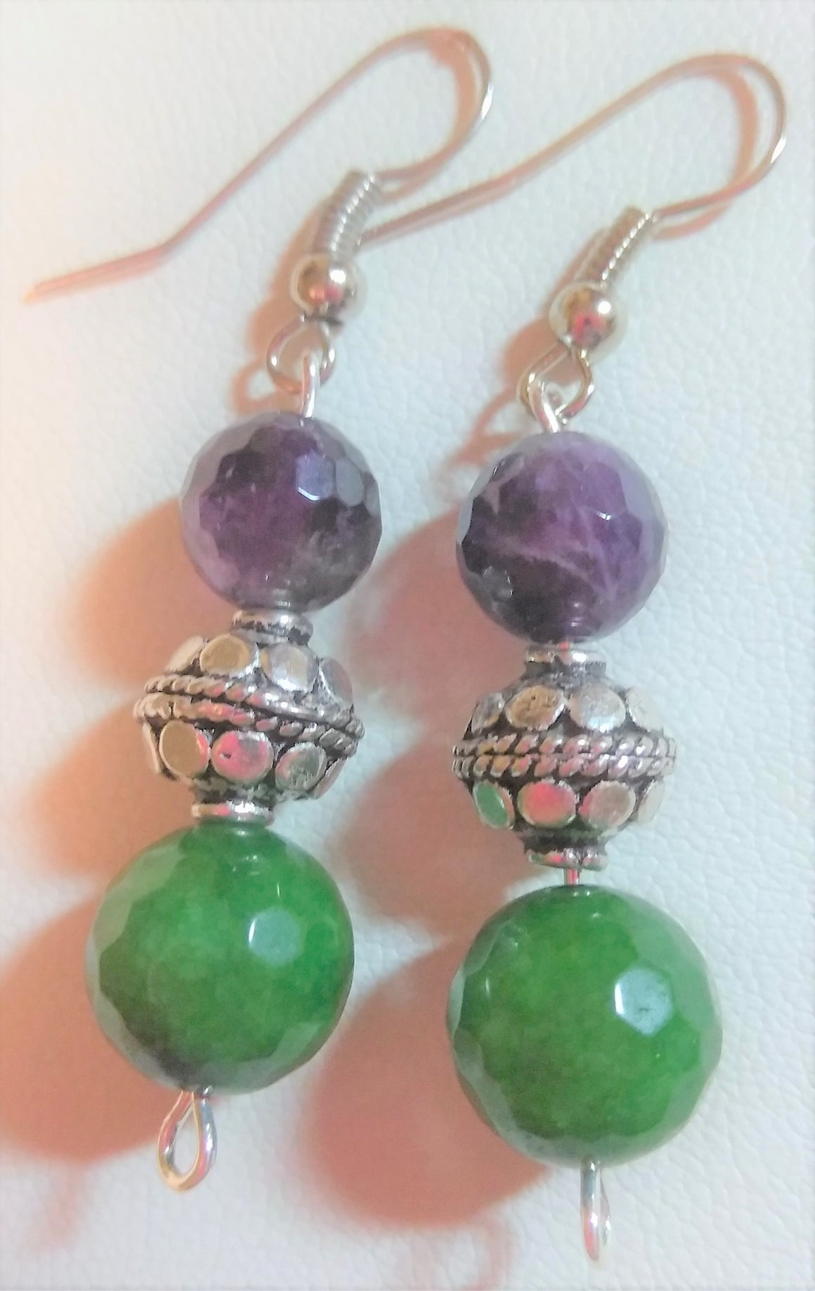 Green Aventurine Amethyst Earrings