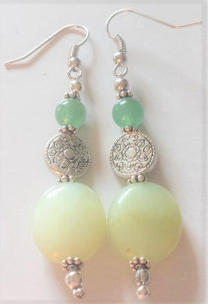 Green Beads Aventurine Celtic Earrings