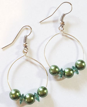 Green Swarovski Pearl Crystal Hoop Earrings