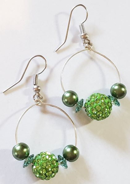 Green Swarovski Sparkle Hoop Earrings