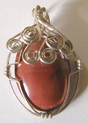 Red Jasper Silver Wire Wrap Pendant