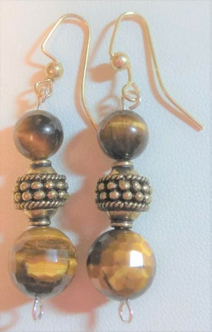 Large Tiger Eye Bead Earrings