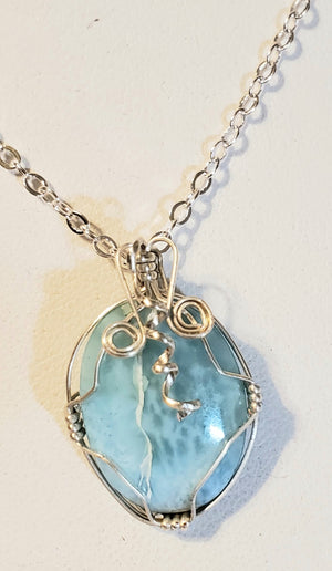 Larimar Wire Wrap Necklace 6