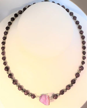 Lepidolite Druzy Necklace