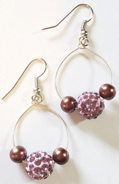 Mauve Swarovski Pearl Hoop Earrings