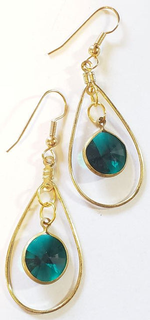 Oval Green Swarovski Earrings