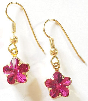 Red Swarovski Flower Crystal Earrings