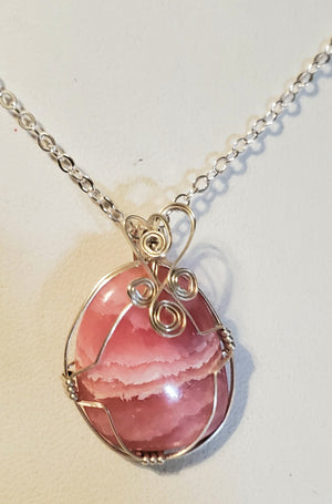 Rhodochrosite Wire Wrap Necklace 6
