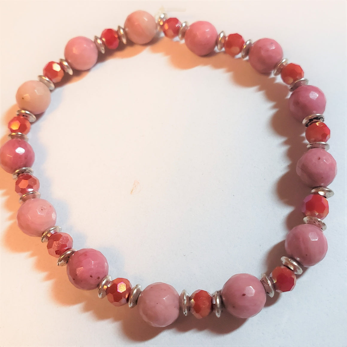 Rhodonite Red Rondelle Stretch Bracelet