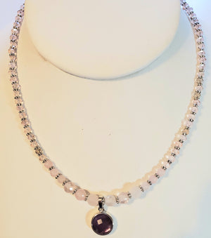 Rose Quartz Pink Rondelle Amethyst Necklace