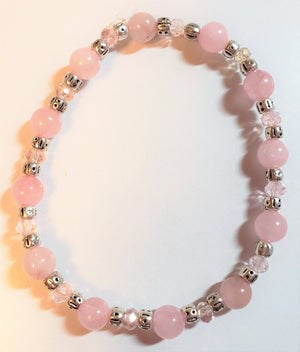 Rose Quartz Pink Rondelle Stretch Bracelet