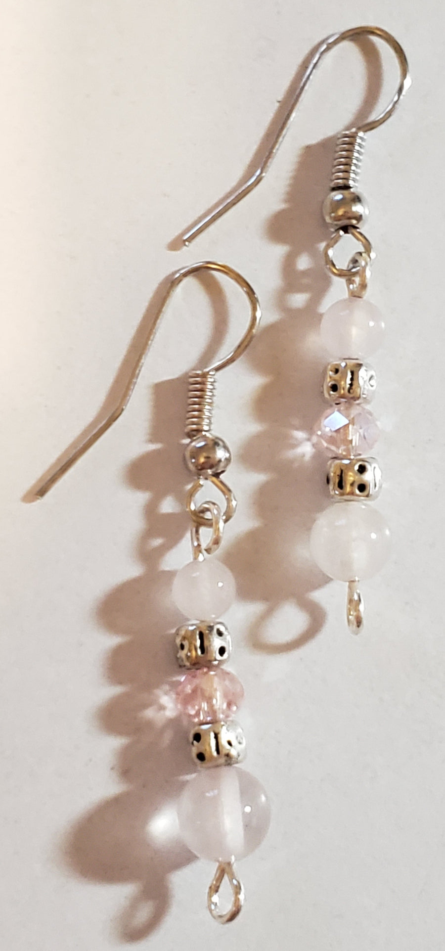Rose Quartz Silver Plated Spacer Beads Earrings