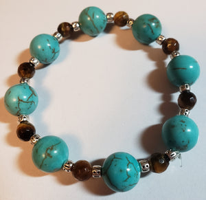 Tiger Eye Turquoise Howlite Stretch Bracelet