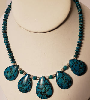 Turquoise Howlite Fan Necklace