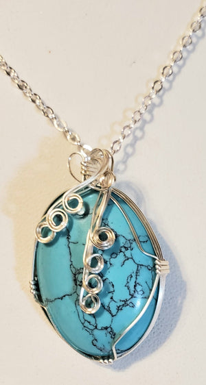 Turquoise Howlite Wire Wrap Necklace 6