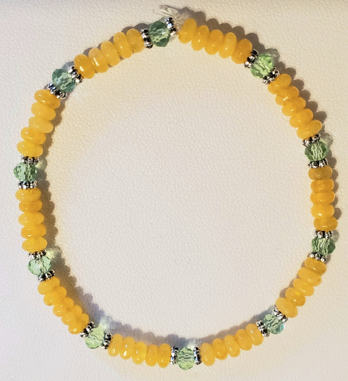 Yellow Jade Green Rondelle Bracelet