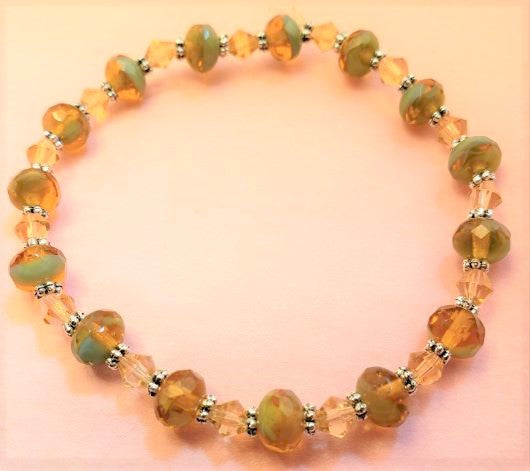 Yellow Agate Bicone Stretch Bracelet