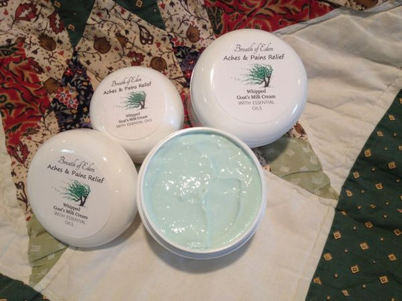 All Natural Aches and Pains Relief Cream Goat's Milk Products from our Farm