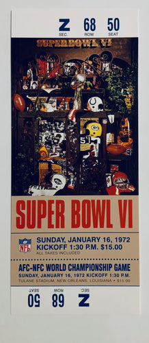 1972 Super Bowl VI (6) Replica Ticket