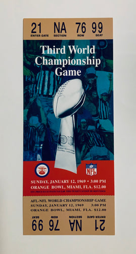 1969 Super Bowl lll (3) Replica Ticket