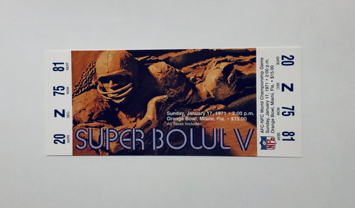 1971 Super Bowl 5 (V) Replica Ticket