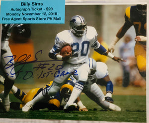 Billy Sims Autographed 8x10 photo w Cert of Auth / Script