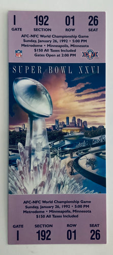 1992 Super Bowl XXVl (26) Replica Ticket