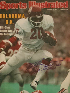 Billy Simms Oklahoma University Autographed Sports Illustrated w Heis Script