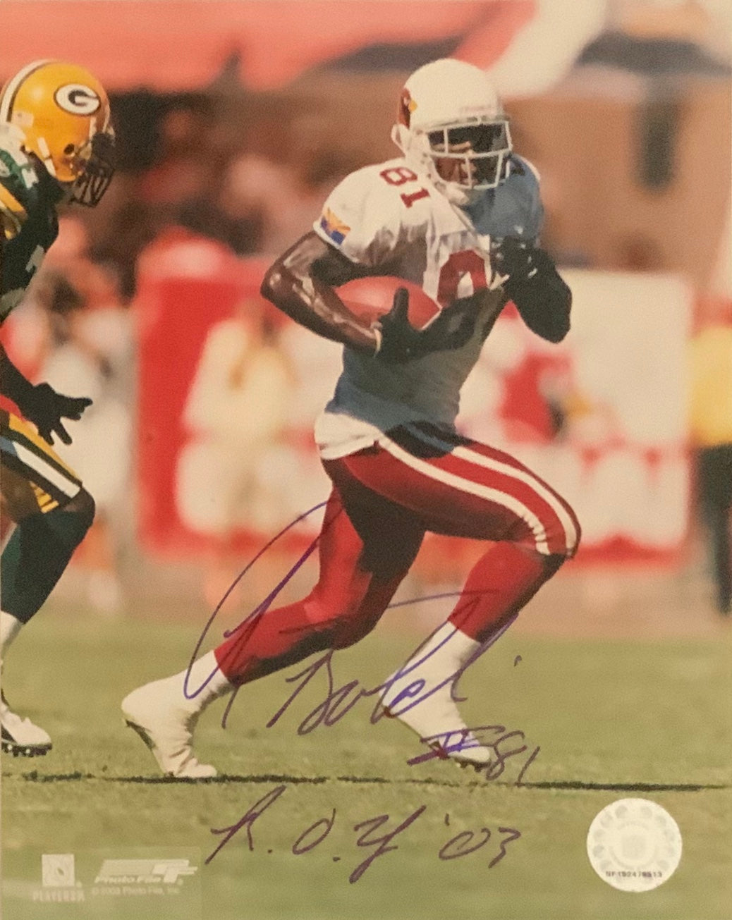 Anquin Boldin Autographed 8x10 Arizona Cardinals photo with R.O.Y Script