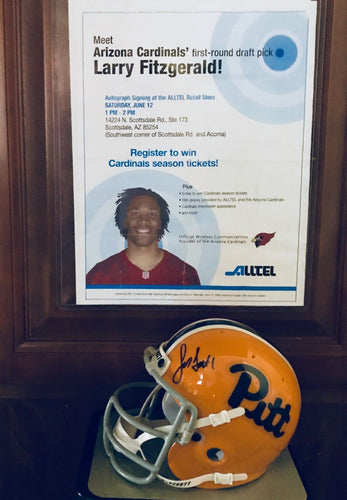 Larry Fitzgerald signed Pitt Mini Helmet Throwback with Cert Of Authenticity
