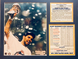 Kurt Warner signed / matted S'bowl Stats Rams 8x10 photo JSA Certificate of Auth