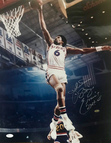 Julius Erving signed Philadelphia 76ers 16x20 photo JSA Cert of Authenticity