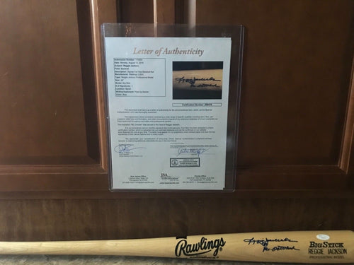 Reggie Jackson signed Big Stick Model Bat script Mr October / JSA Letter of Auth