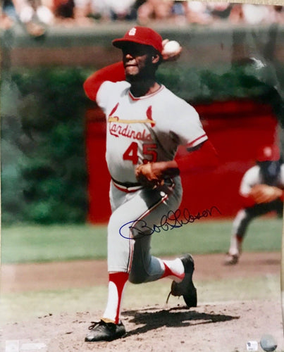 Bob Gibson autographed 16x20 Certification of Authenticity Global Authentication