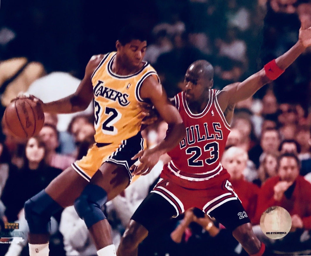 Michael Jordan Chicago Bulls / Magic Johnson unsigned 8x10 photo Free Shipping