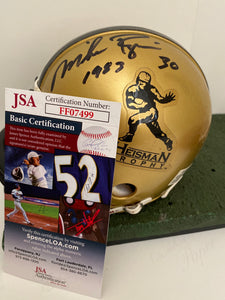 Mike Rosier Heisman Mini Helmet JSA Cert / 2 scripts