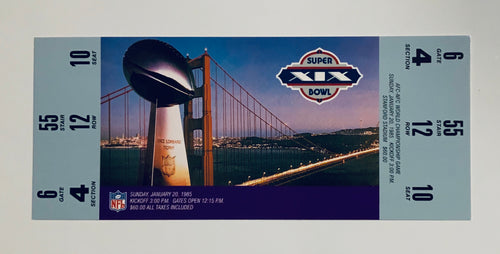 1985 Super Bowl XlX (19) Replica Ticket