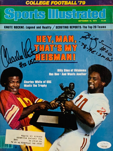 Billy Sims & Charles White signed SI with Scripts & JSA Cert of Authenticity