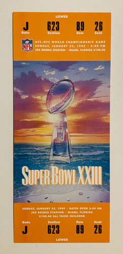 1989 Super Bowl XXlll (23) Replica Ticket