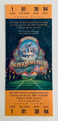 1994 Super Bowl XXVlll (28) Replica Ticket