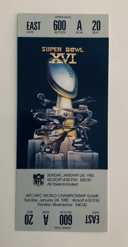 1982 Super Bowl XVl (16) Replica Ticket