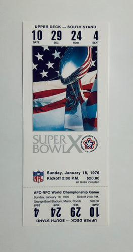 1976 Super Bowl X (10) Replica Ticket