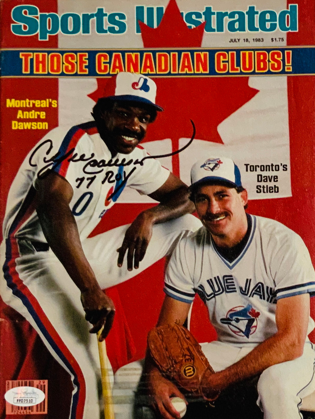 Andre Dawson Montreal Expos Autographed Sports Illustrated w JSA Cert of Auth