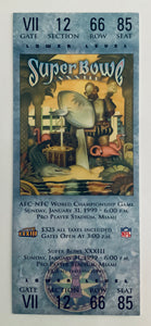 1999 Super Bowl XXXIII (33) Replica Ticket