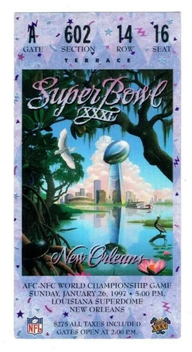 1997 Super Bowl XXXl (31) Replica Ticket