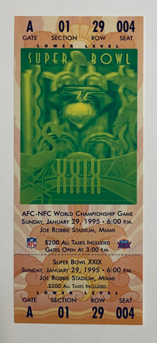 1995 Super Bowl XXlX (29) Replica Ticket