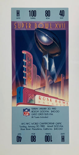 1983 Super Bowl XVll (17) Replica Ticket