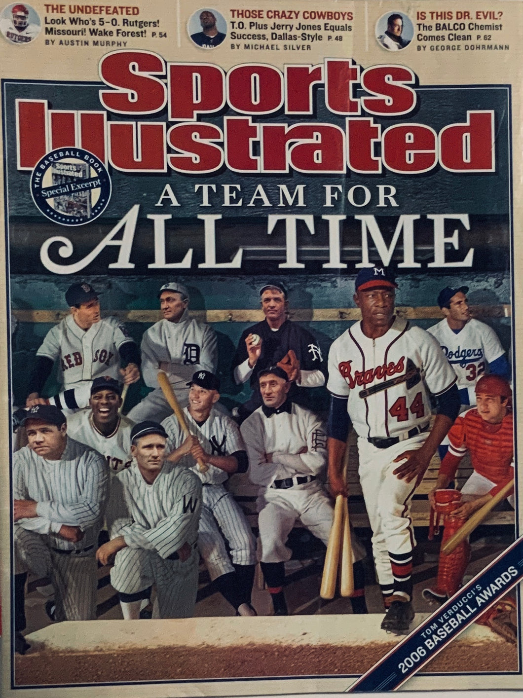 Sports Illustrated A Team For All time Baseball's Greatest Players Cover 10/09/2006